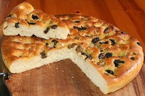Focaccia Italian Bread with Olives and Herbs